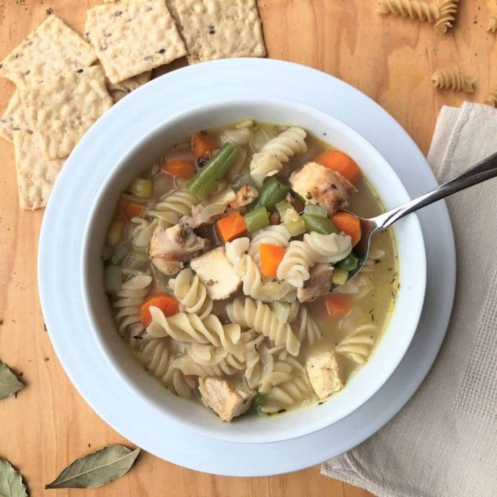 A bowl of allergy free chicken noodle soup