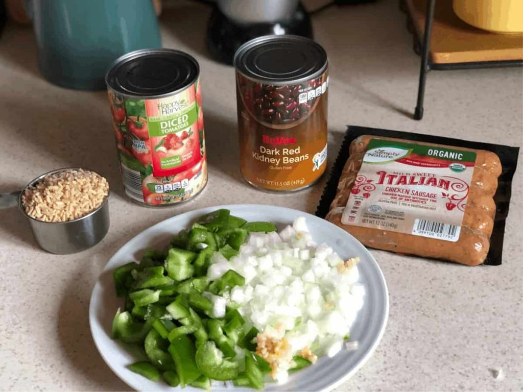 The ingredients needed for red beans and rice skillet
