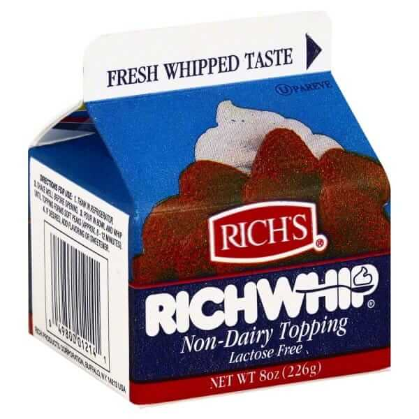 A carton of dairy free rich whip whipped topping