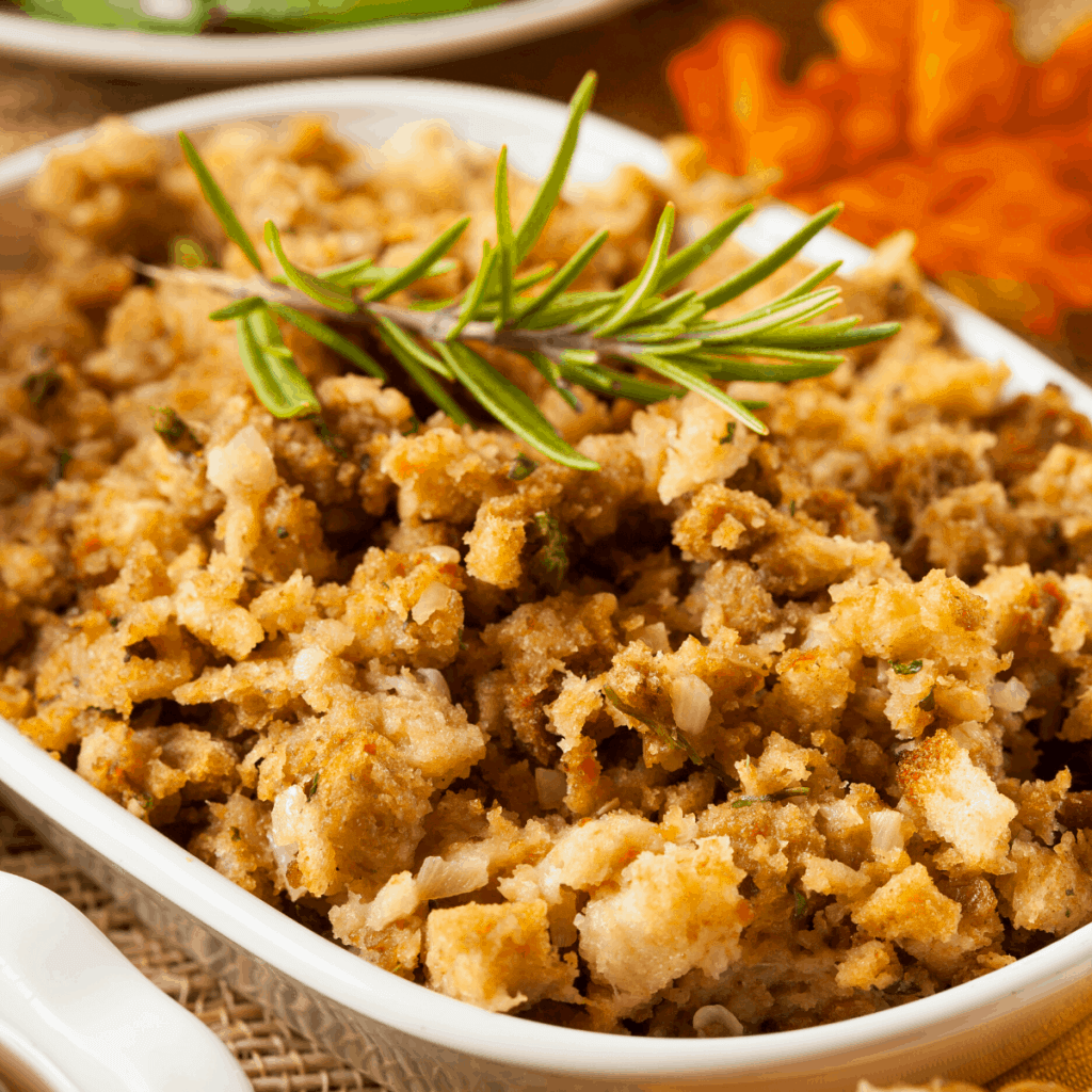 A casserole dish filled with wheat free stuffing
