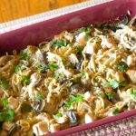 A pan of chicken tetrazzini