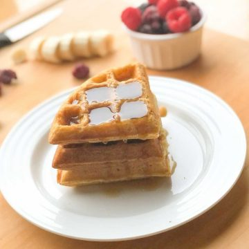 Dairy free waffles with maple syrup