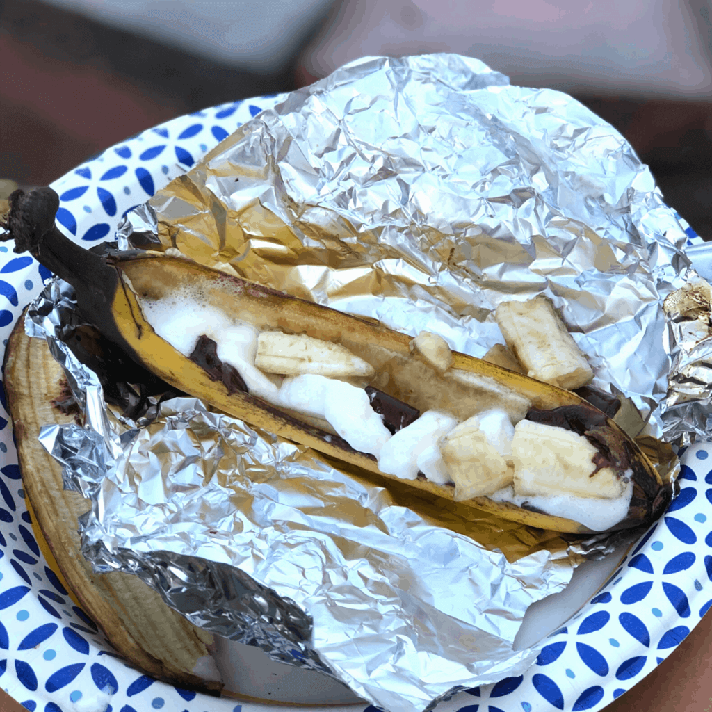 A banana boat on aluminum foil