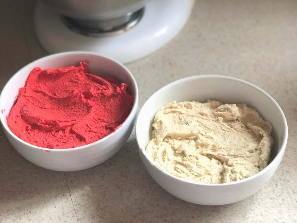 Red and white dough for candy cane cookies