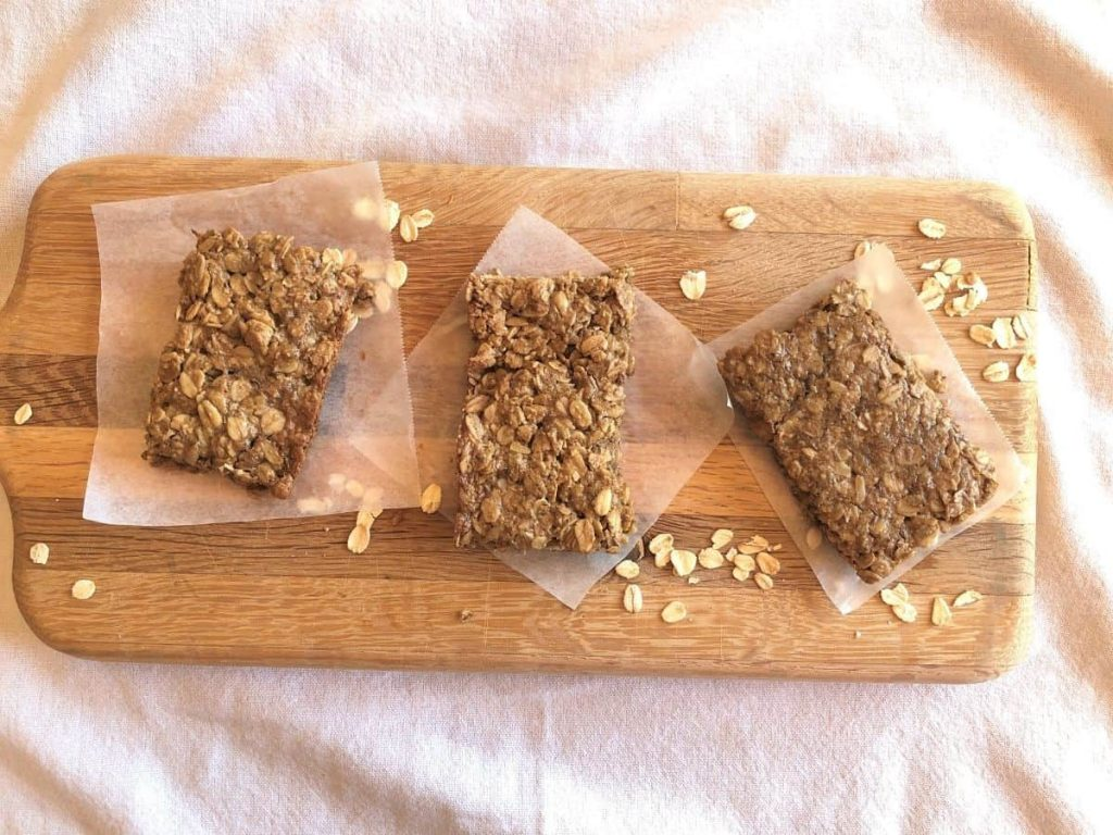 Overhead view of three nut free granola bars