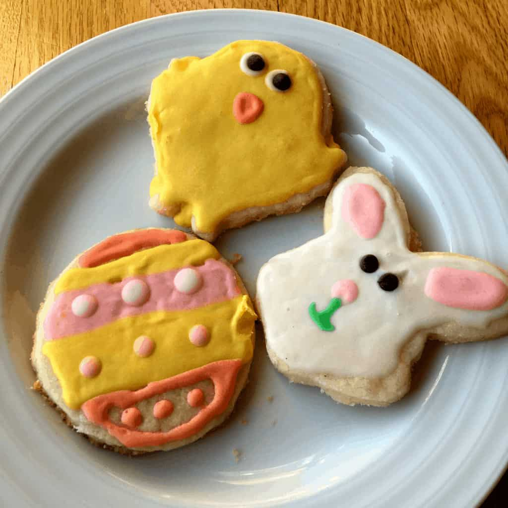Gluten free sugar cookies in Easter shapes