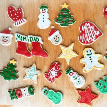 Christmas themed gluten free sugar cookies