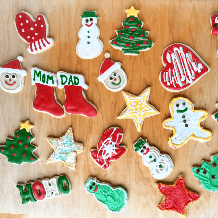 Christmas themed gluten free sugar cookies