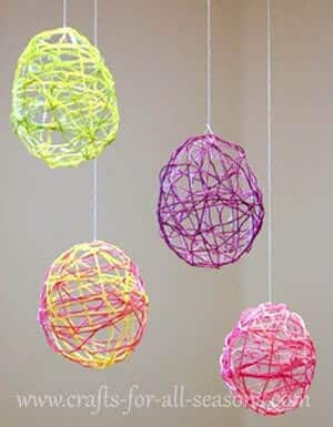 Easter eggs made from colorful floss