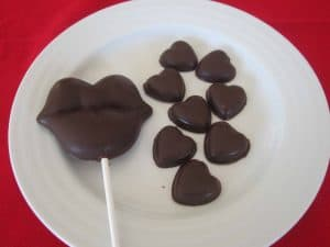 Allergy free chocolate hearts and lips