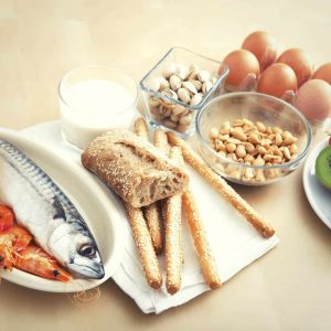 A photo of common food allergens