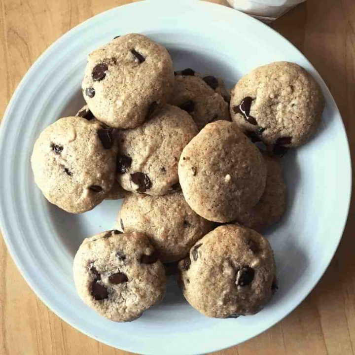A plate of chocolate chip cookies.