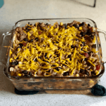 A pan of dairy free, gluten free Mexican Lasagna