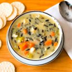 A bowl of dairy and gluten free chicken and wild rice soup