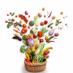 A basket with various fruits and vegetables