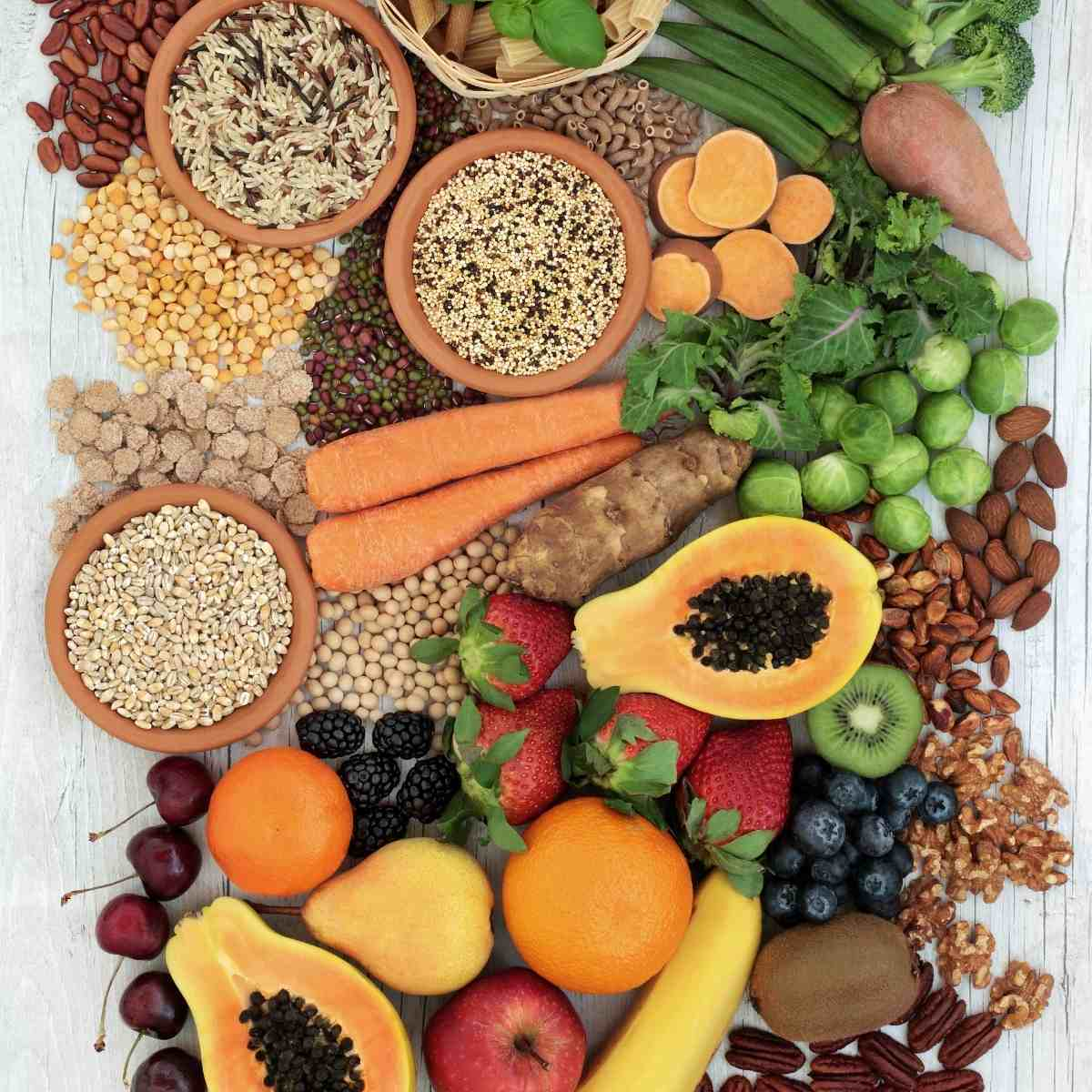 A variety of foods containing gluten free fiber.