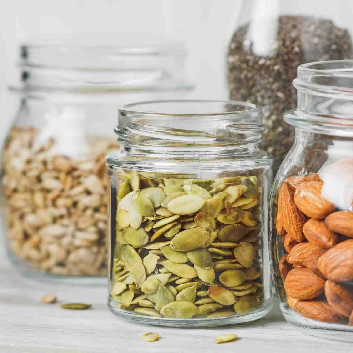 Nuts and seeds that are sources of gluten free fiber.