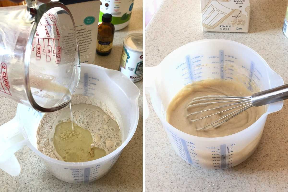 Two images showing wet ingredients added to a mixing bowl and mixed with a whisk.