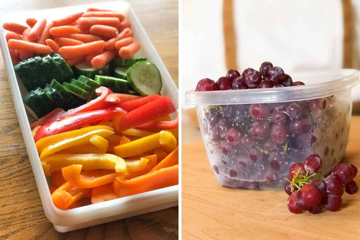 Side by side photos of a veggie tray and a container of washed red grapes.