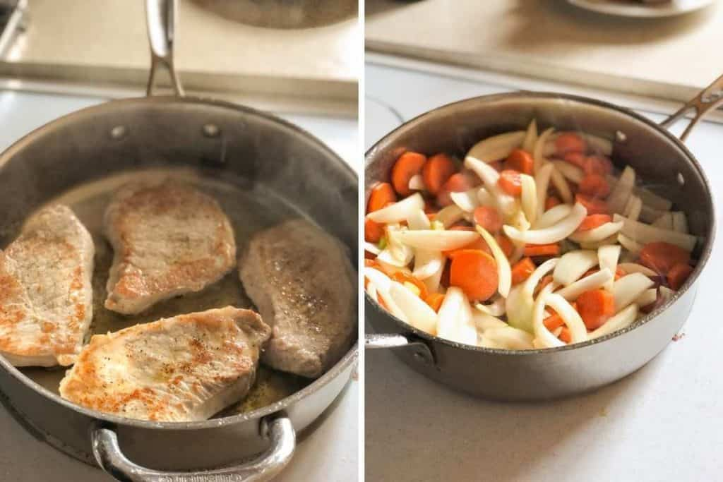 A side-by-side photo of browning pork chops and cooking carrots, onions and celery