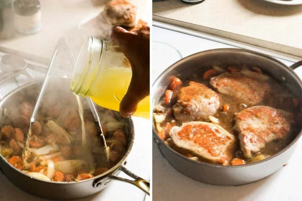 A side-by-side photo of broth being poured into a pan and pork chops in gravy