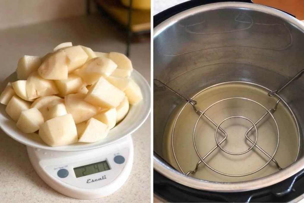 Side by side photos showing cut potatoes and broth in the Instant pot.