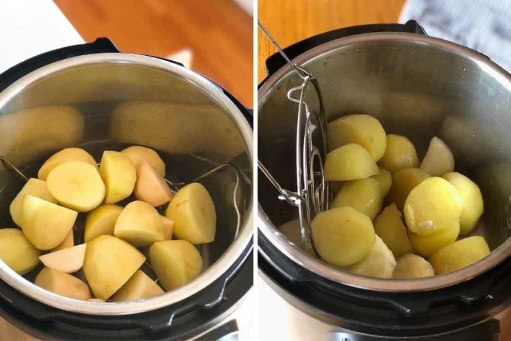 Side by side photos showing potatoes before and after cooking