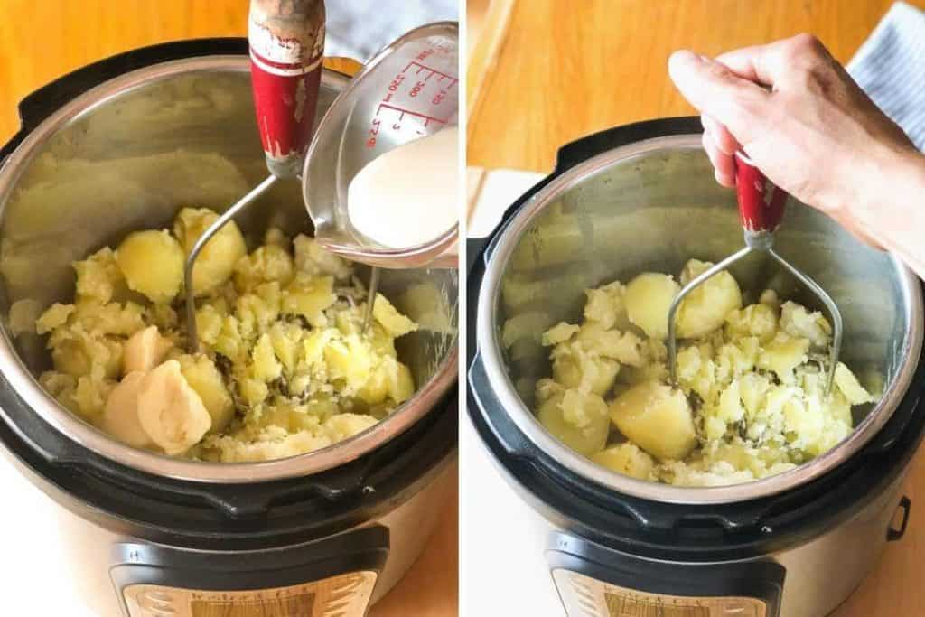 Side by side photos showing dairy free milk and margarine being added to potatoes and potatoes being mashed.